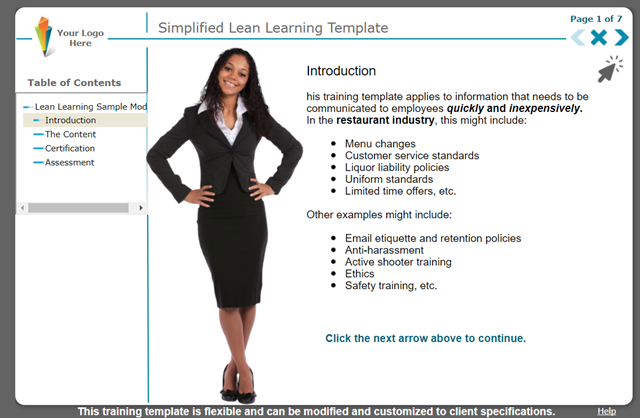 Food Service Industry e-Learning: Simplify, Simplify, Simplify