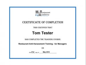 restaurant training certificate