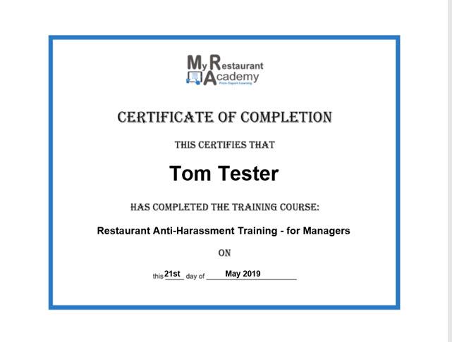 restaurant training certificate, restaurant training certification